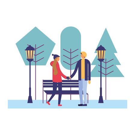 couple together in the park winter season vector illustration Foto de archivo - 110851466