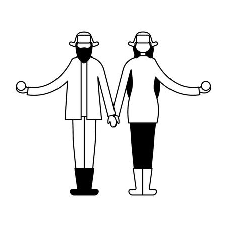 couple holding hands with winter clothes vector illustration Stock Vector - 110851973
