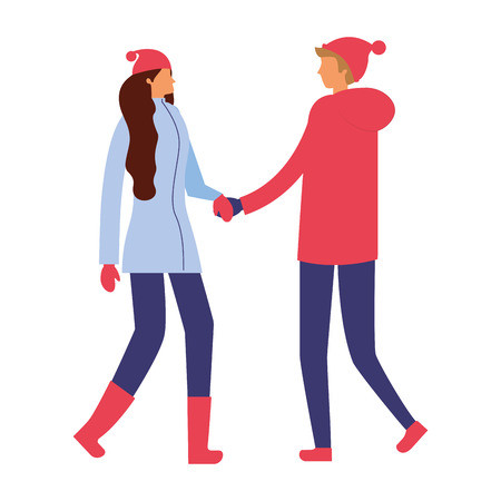 couple holding hands with winter clothes vector illustration Stock Vector - 110851925