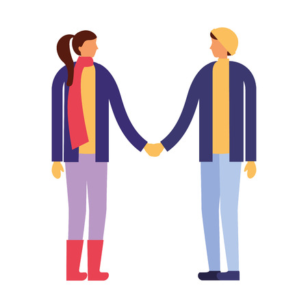 couple holding hands with winter clothes vector illustration Stock Vector - 110855133