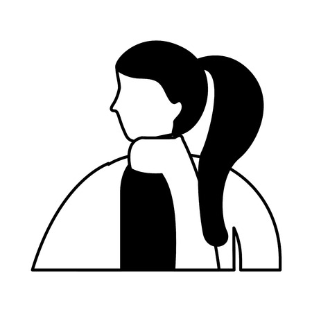 woman side view with winter clothes vector illustration Illustration