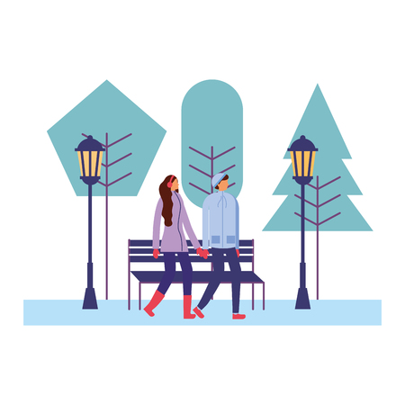 couple together in the park winter season vector illustration Banque d'images - 110855116