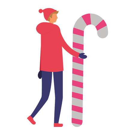 man in winter clothes holding candy cane vector illustration