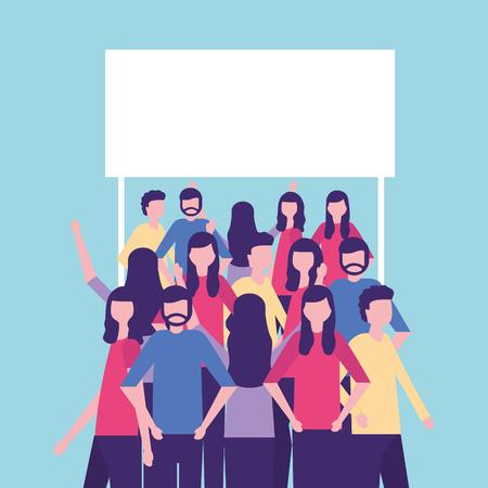 community activity interacting talking sign vector illustration