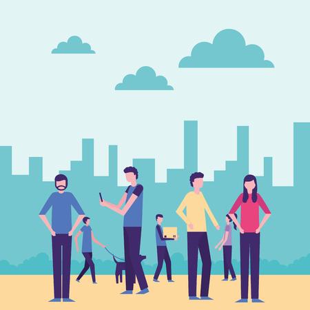 community activity city dog walker people interacting vector illustration