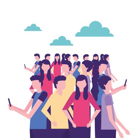 community activity outdoor girls and boys using telephones vector illustration Ilustração