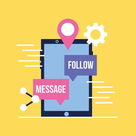 social media digital smartphone message follow location vector illustration