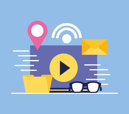 social media digital document video glasses message folder vector illustration Иллюстрация