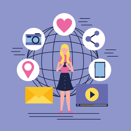 social media digital world blonde girl using telephone camera message vector illustration
