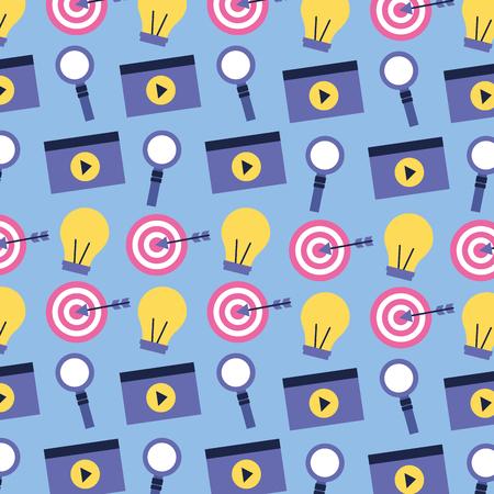 social media digital magnifying glass video light bulbs vector illustration