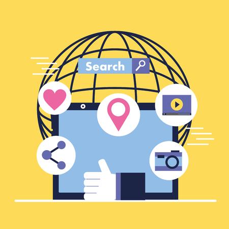 social media digital world tablet share location camera search vector illustration