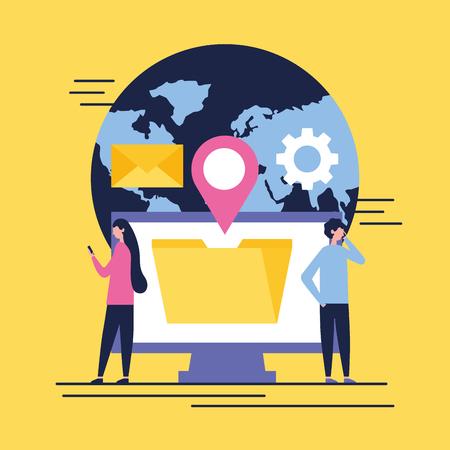 social media digital world computer folder location wheel man and woman talking telephone vector illustration