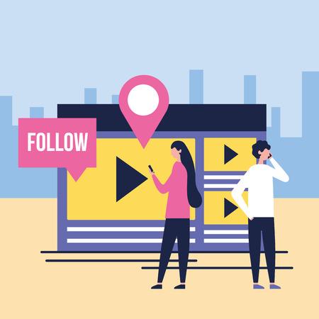 social media digital document video follow location city vector illustration
