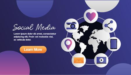 social media digital global stickers connections camera message like smartphone vector illustration Illusztráció