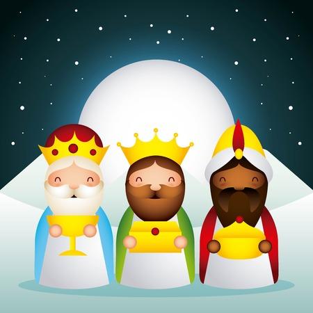 manger epiphany dessert wise men moon stars vector illustration