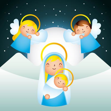 manger epiphany angels playing trumpets mary holding baby vector illustration