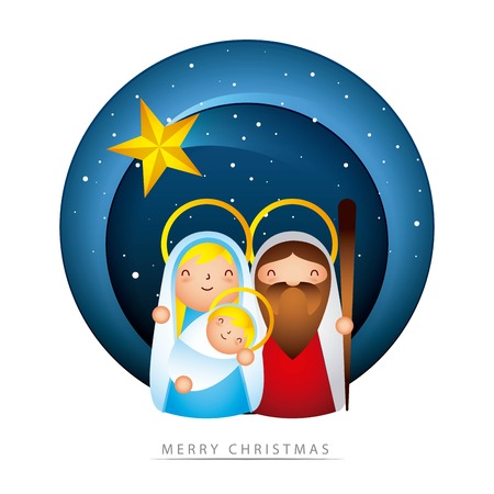 manger epiphany sticker stars sacred family love vector illustration