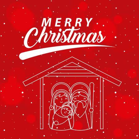 merry christmas sign sacred family stars vector illustration