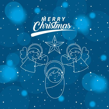 merry christmas angels playing trumpets baby star vector illustration