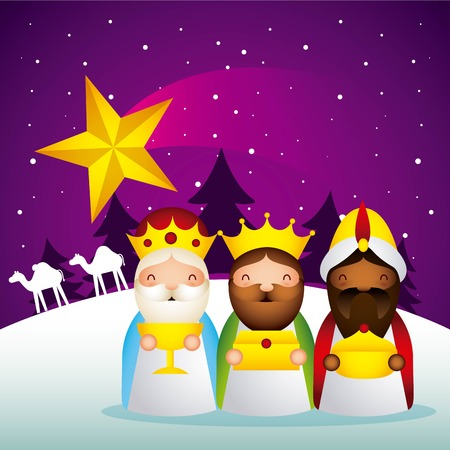 manger epiphany star wise men camels vector illustration Illustration
