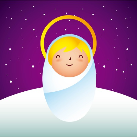 manger epiphany cute baby jesus stars background vector illustration Illustration