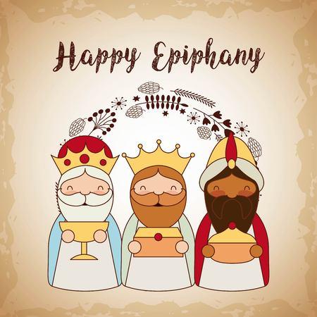 manger epiphany leaves wise men decoration vector illustration