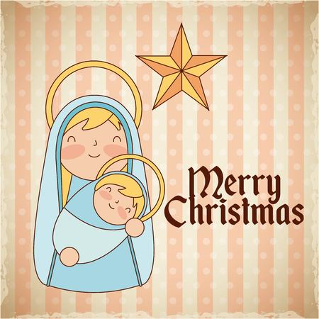 merry christmas maria holding baby star vector illustration  イラスト・ベクター素材