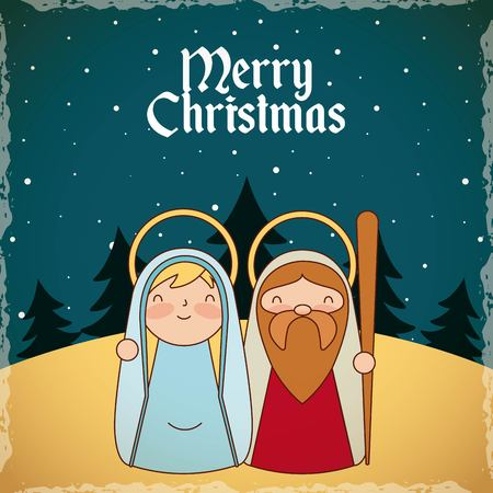 merry christmas desert stars maria and jesus vector illustration