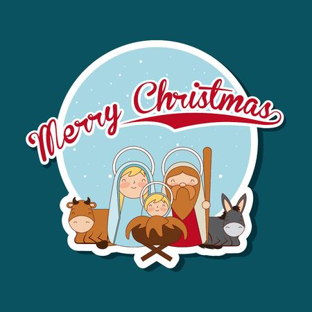 merry christmas sticker sacred family vector illustration