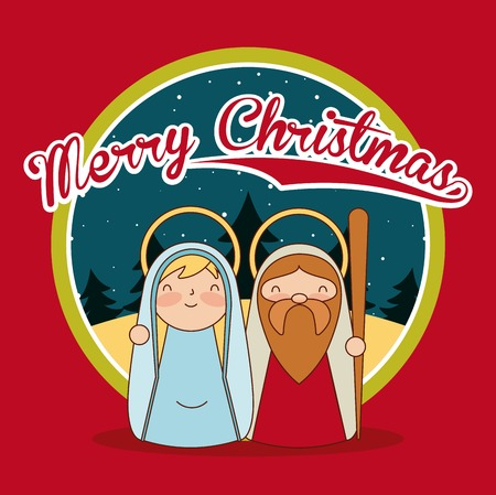 merry christmas sticker desert maria and jesus vector illustration
