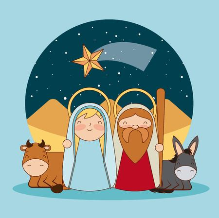 manger epiphany shooting star sticker desert jesus and maria vector illustration