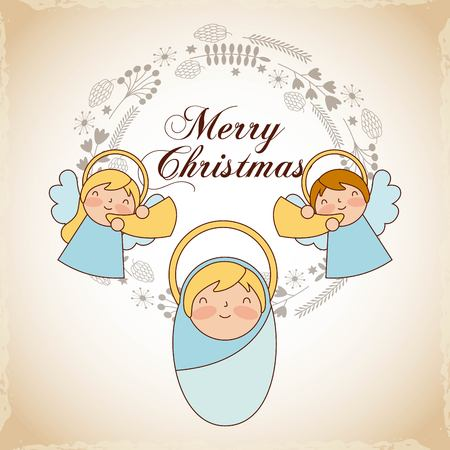 merry christmas angels baby leaves stars vector illustration