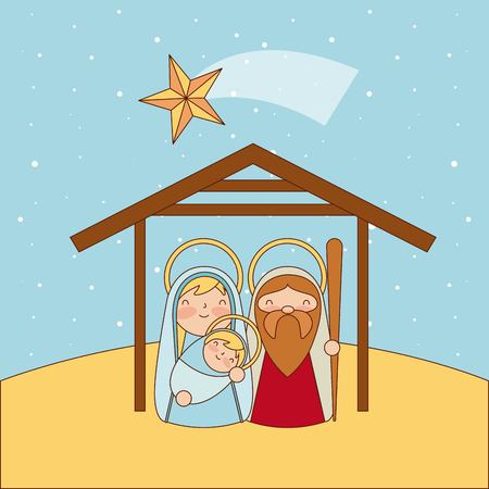 manger epiphany shooting star sacred family desert vector illustration