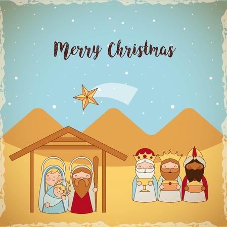 manger epiphany shooting star desert wise men sacred family vector illustration Vettoriali