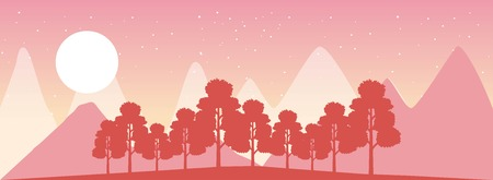 wanderlust travel landscapes moon trees mountains sunset vector illustration