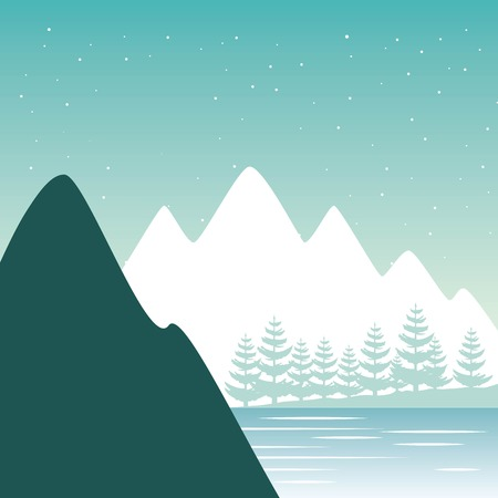 wanderlust travel landscapes alps lake mountains cliffs vector illustration 向量圖像