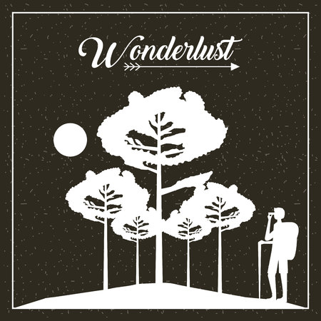 wanderlust travel man taking photo trees moon vector illustration