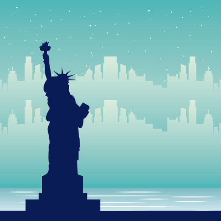 wanderlust travel statue of liberty city vector illustration