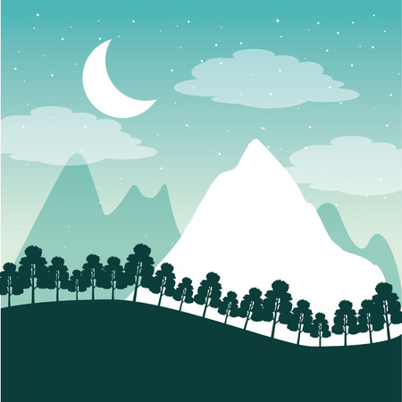 wanderlust travel alps mountains moon stars vector illustration 向量圖像