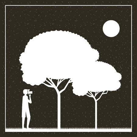 wanderlust travel boy taking photo trees vector illustration