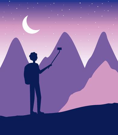 wanderlust travel boy taking selfie mountain cliff stars vector illustration