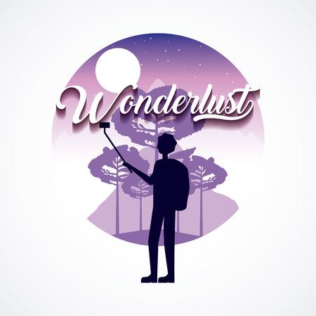 wanderlust travel moon stars boy taking selfie mountains vector illustration Illustration