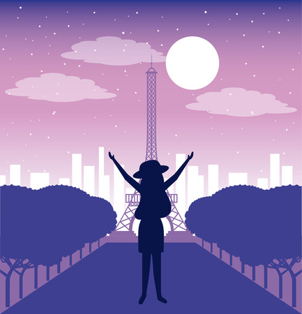 wanderlust travel woman in paris enjoy eiffel tower vector illustration