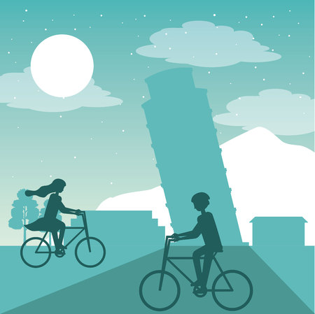 wanderlust travel couple riding bicycle tower of pisa vector illustration