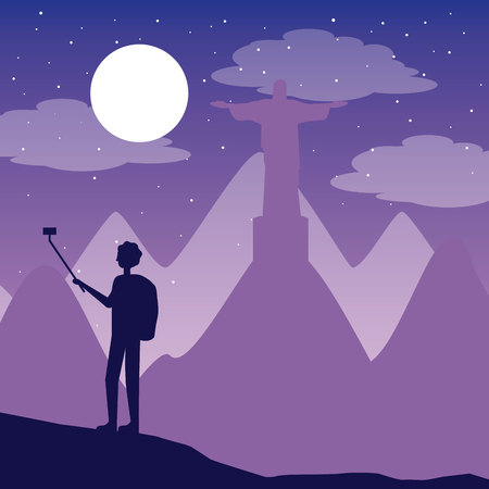 wanderlust travel boy taking selfie in christ redeemer vector illustration Stock Illustratie