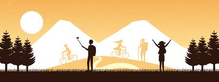 wanderlust travel people enjoy outdoor landscape vector illustration