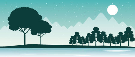 wanderlust travel trees alps lake vector illustration 스톡 콘텐츠 - 110864827