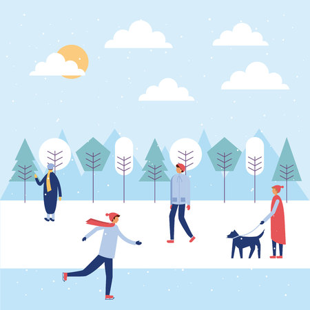 happy winter people vacation boy skating on ice dog walker vector illustration