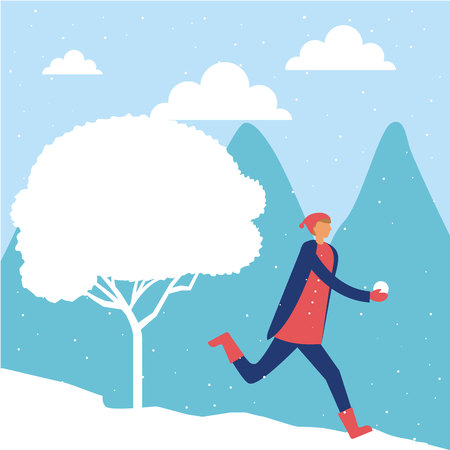 happy winter vacation tree boy playing snow enjoy vector illustration