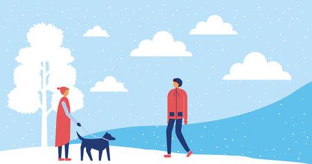 happy winter vacation boy walking with dog snow tree vector illustration Ilustrace